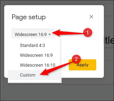 select custom from the drop down menu
