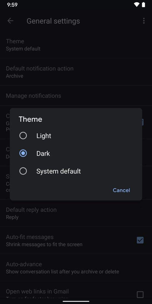 Dark mode for gmail android app