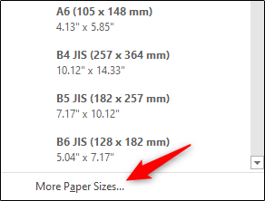 More page sizes..