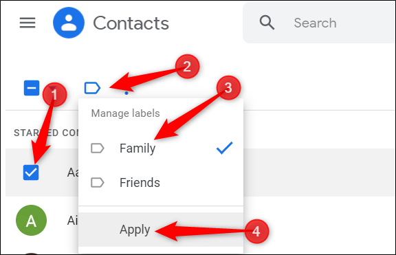 add contact to an already existing label