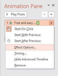 click on Effect Options