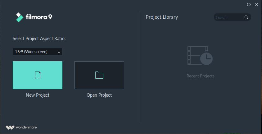 select project ascpect ratio and click on new project