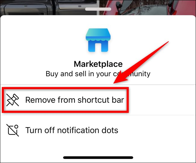 select remove from shortcut bar from the options