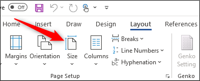 size in page layout