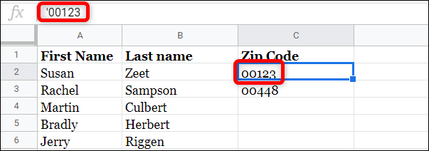 using apostrophe before a number in formula bar