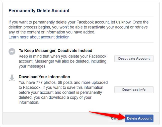 Click on Delete Account button