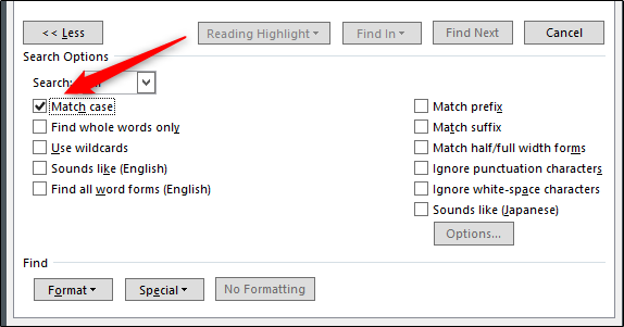 check the boxes in the advanced search