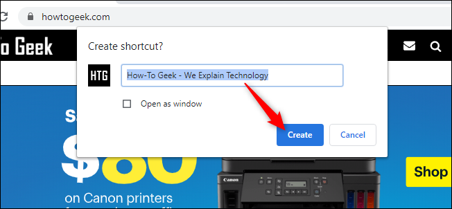 click on create to create the website shortcut