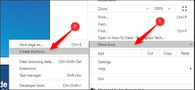 create shortcut in google chrome
