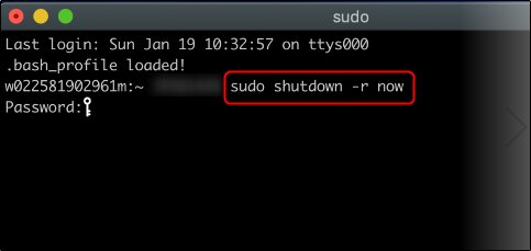 restarting macbook using sudo command