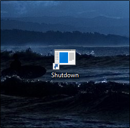 shutdown icon will appear on the desktop