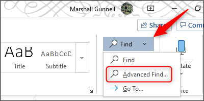 using advanced search option in ms word