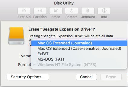 Changing the drive format