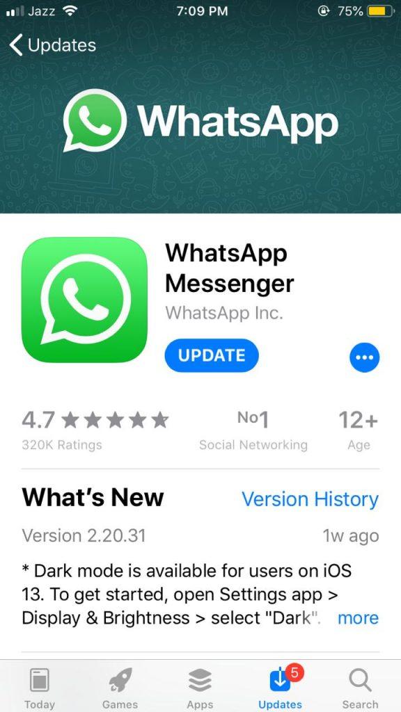 Update the whatsapp to enable dark mode
