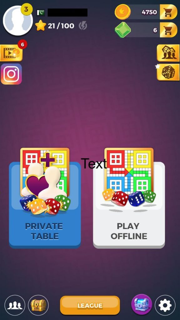 Share a private table or play offline ludo star