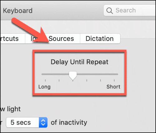 delay until repeat slider