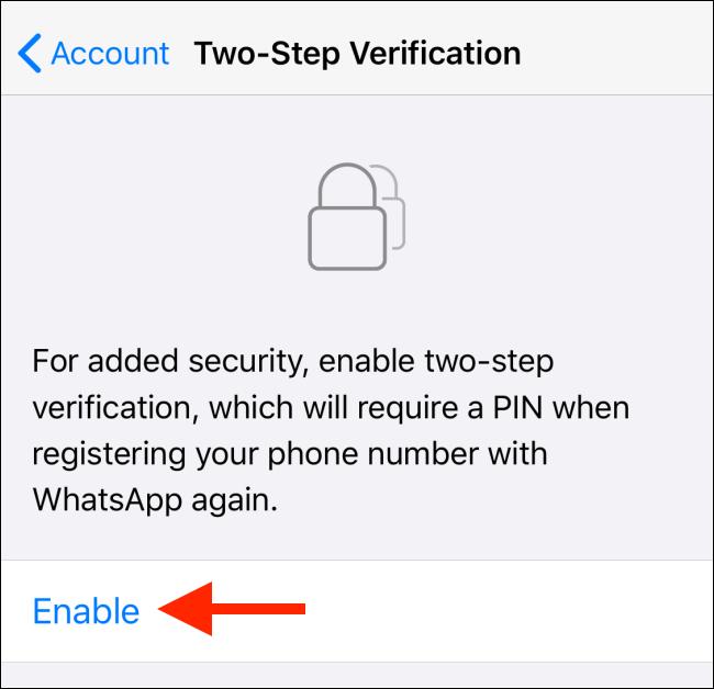 enabling two step verification for whatsapp