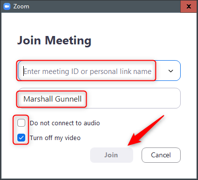 enter the meeting ID or personal link name to join the meeting in zoom