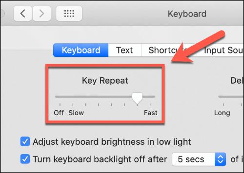 key repeat slider