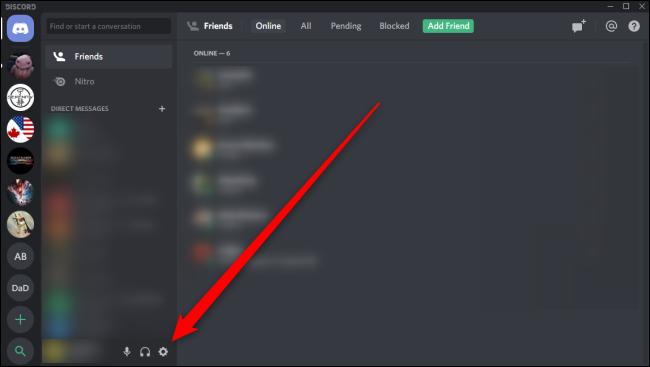 open the settings in discord window