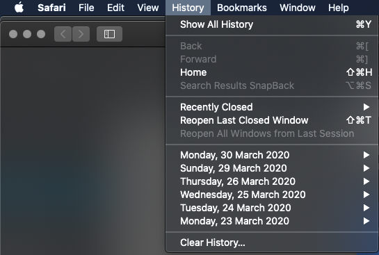 select clear history from the drop down menu in safari