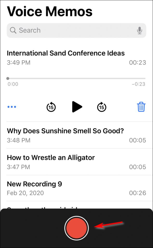 start recording in voice memos app
