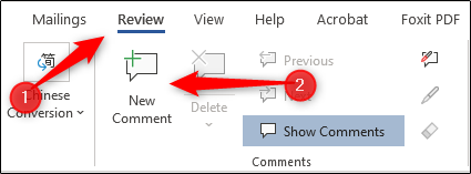 adding a comment in word document