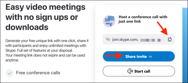 copy the skype meeting link and share it with the participants