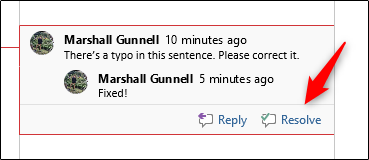 resolve a comment in word document