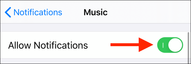 toggle off allow notifications button for apple music app