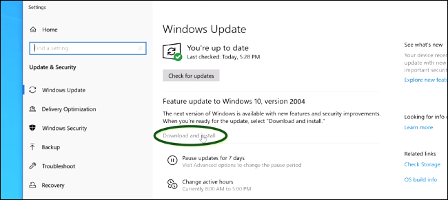 Download and install the windows 10 update from settings
