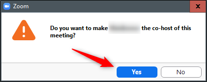 confirm that you want to make a co-host in zoom meeting
