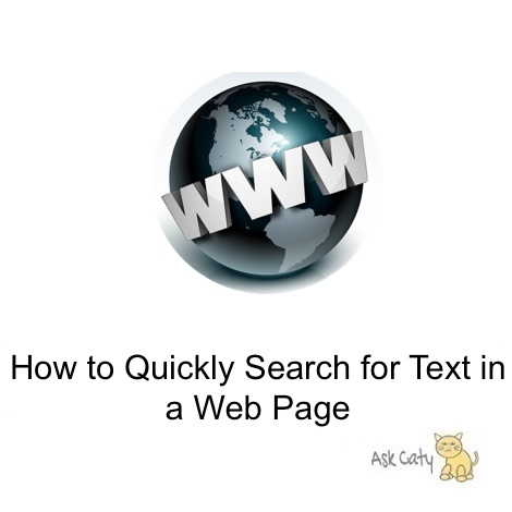 how to search for text in a web page