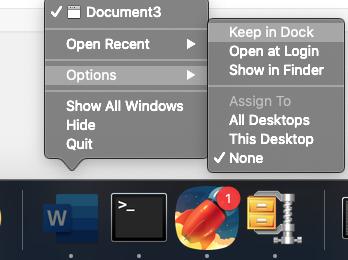 pin an icon on dock in mac