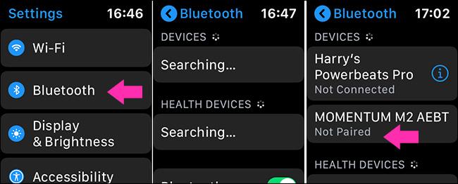 turn on bluetooth on Apple Watch