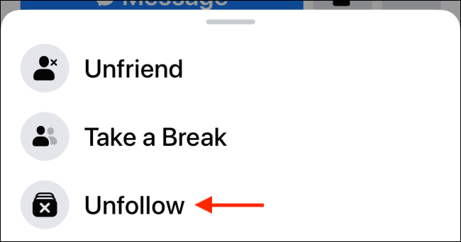 choose unfollow option from the list to unfollow the user on facebook