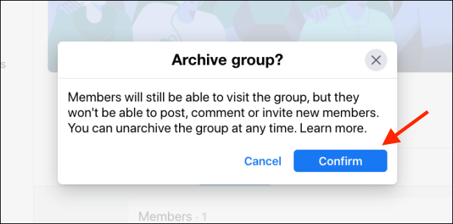 confirm if you want to archive the facebook group