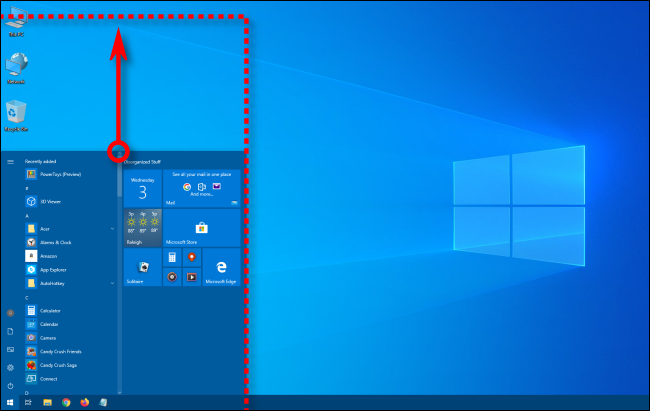 drag the mouse crouse upwards to make the start menu larger