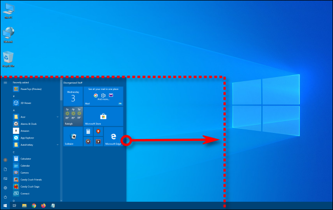 drag the mouse cursor horizontally to make the start menu wider