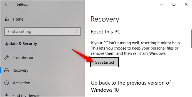 get started on reset this pc
