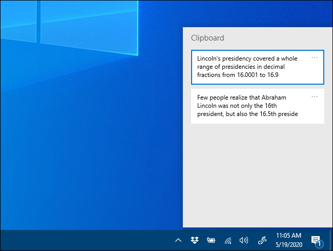 open the clipboard history in windows 10