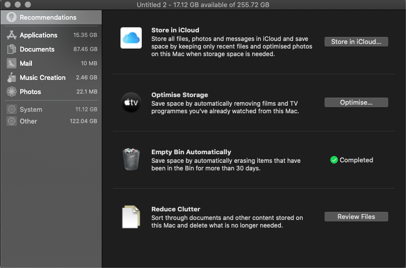 recommendations in about my mac storage