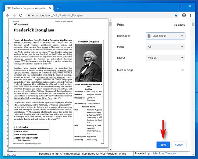 save the webpage as pdf file on chrome.