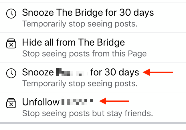 snooze for 30 days option and unfollow option on facebook