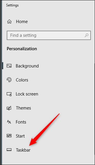 taskbar settings in personalization