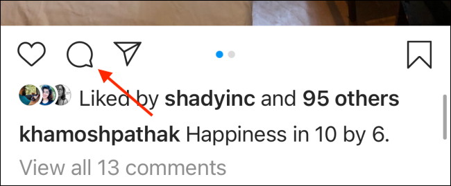 comments icon on instagram