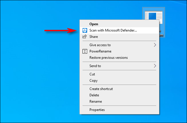 scan with microsoft defender option