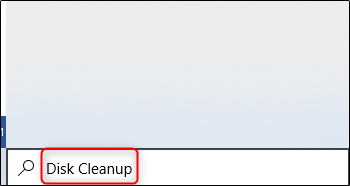 search disk cleanup from search tab