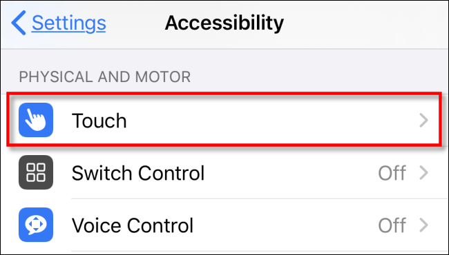 touch option on Physical and motor section in Accessibility