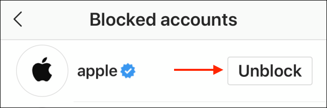 unblocking a user on instagram through settings